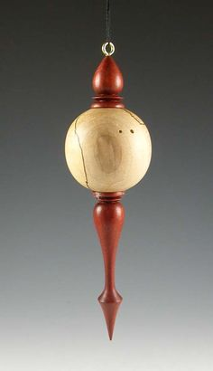 Bloodwood and Spalted Maple Hanging Ornament by hanssenstudios, $40.00
