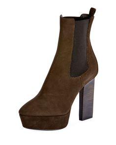 X3RCJ Saint Laurent Vika Suede Platform Ankle Boot, Olive