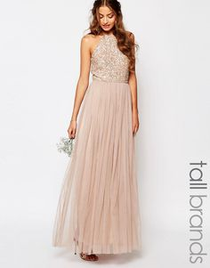 Image 1 ofMaya Tall High Neck Maxi Tulle Dress With Tonal Delicate Sequins