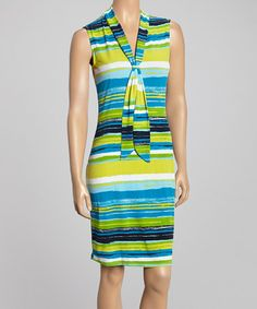 Another great find on #zulily! Blue Sky Stripe Sleeveless Dress by Glamour #zulilyfinds