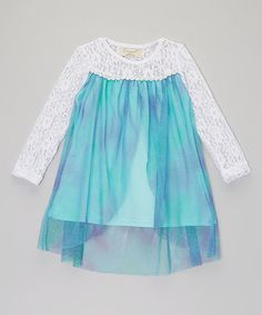 Another great find on #zulily! Aqua & Purple Glitter Lace Dress - Toddler & Girls by Little Miss Fairytale #zulilyfinds