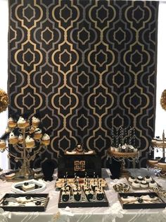 Geometric backdrop at a Great Gatsby Quinceañera party! See more party ideas at CatchMyParty.com!: