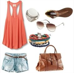 Fashion For Moms – Summer Outfit – Coral Tank Top Fun (She takes Pinterest outfits and shows you where to get affordable look alikes!  This whole outfit costs about $100 - for the shoes, purse, jewelry - EVERYTHING!!) I LOVE this site!!!)
