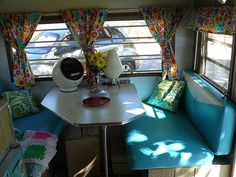 love those cheery curtains #camper #trailer