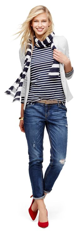 Start this season off in style with Old Navy Boyfriend Denim and stripes.