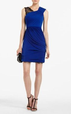 BCBGMAXAZRIA Norah Matte Jersey Dress Blue Sapphire Lace Shoulder [BCBG Norah Matte Jersey Dress Blue] - $142.00 : Cheap herve leger and BCBG dresses on sale
