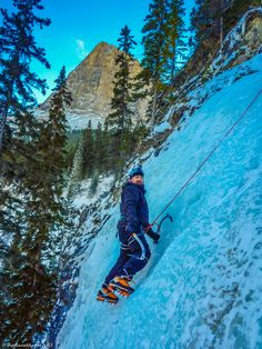 Ice Climbing in Canmore, Alberta is a crazy adventure! There is nothing more rewarding than getting to the top of the climb and taking in the magnificent view... #ExploreCanada