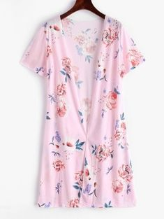 Zaful / Flower Open Front Longline Cover Up Bathing Suits One Piece, Bathing Suit Covers, Swimsuits For Teens, Women Swimsuits, Cruise Fashion, Swimwear Cover Ups, Collars For Women, Beach Tops, Long A Line