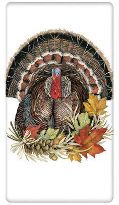 Tom Turkey with Autumn Leaves 100% Cotton Flour Sack Dish Towel Tea Towel