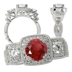 18k Chatham cultured 6.5mm round ruby 3-stone style engagement ring with natural diamonds
