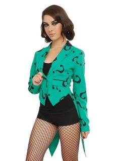 DC Comics Riddler Green Girls Jacket, GREEN