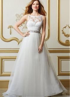 CHARMING TULLE ORGANZA A-LINE BATEAU NECKLINE NATURAL WAISTLINE WEDDING DRESS IVORY WHITE LACE BRIDAL GOWN