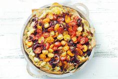 Kijk wat een lekker recept ik heb gevonden op Allerhande! Hartige taart met tomaat & ui