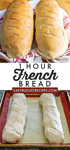 This French Bread recipe takes just one hour from start to finish. It makes 2 la… This French Bread recipe takes just one hour from start to finish. It makes 2 large loaves that serve 8 people each and will cost just per serving! Easy French Bread Recipe, Easy Bread Recipes, Baking Recipes, Homemade French Bread, One Hour Bread Recipe, Recipe For Making Bread, Basic Bread Recipe No Yeast, Sweet Bread Dough Recipe, Super Easy Bread Recipe