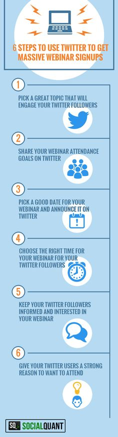 Need to know how to use Twitter to get more attendees to your webinar? We've got the answer! Check out these 6 great tips to fill up your webinar registration!