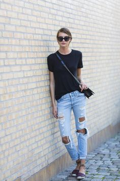 black t-shirt, ripped jeans @roressclothes closet ideas #women fashion outfit #clothing style apparel