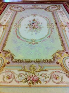Fabulous  Large Antique French Aubusson Rug pink & green on Ruby Lane