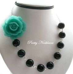 Reserved For Karyn, Teal Rose Flower Necklace, Black Pearl, Bridesmaid Jewelry, Wedding Jewelry Bridesmaid Necklace, Bridal Party Jewelry. $120.00, via Etsy.