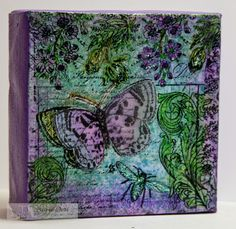 Butterfly Canvas by Jane Bosi using stamps from www.techniquejunkies.com