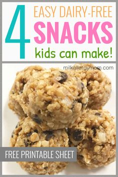 4 favorite dairy-free snack recipes kids love. Get the free printable recipe sheet at Milk Allergy Mom! Meals Kids Love, Easy Snacks For Kids, Healthy Lunches For Kids, Healthy Eating, Clean Foods, Clean Recipes, Snack Recipes, Dairy Free Snacks, Dairy Free Recipes