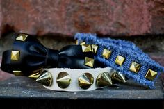 another set from my bracelet line! IG @recyclingfashion denim and leather fun!