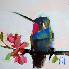 Hummingbird no. 84 original bird oil painting by Angela Moulton prattcreekart