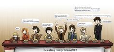 Heads up Pinners! I have a whole slew of these heading this way!   Superwholock - Pie eating competition by ~Star-Jem on deviantART