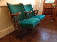Pair of Vintage Wood and Cast Iron Cinema Chairs