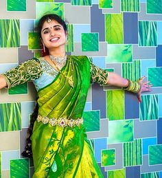 Bride in Shimmering Green and Yellow Silk Saree