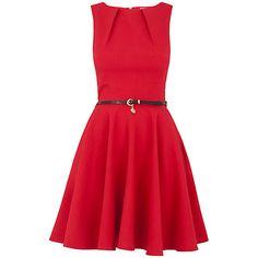 Buy Closet Flared Belted Dress, Red Online at johnlewis.com