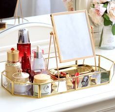 Makeup Tray, Makeup Storage Box, Makeup Vanity Mirror, Makeup Drawer, Cosmetic Storage, Gold Makeup, Makeup Box, Mirror Mirror, Makeup Tables