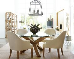 """Saugatuck"" Dining Room - I love the modern organic feel of this dining/living room area"