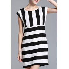 Полосатый Cap рукавом платье мини  #Полосатый #Cap #рукавом #платье #мини
