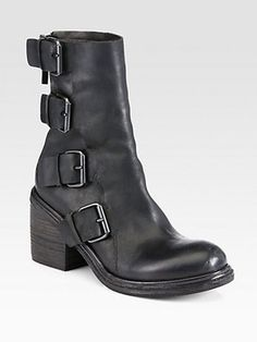 Marsell Leather Buckle Combat Boots Marsèll