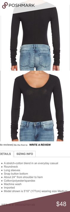 FREE PEOPLE: Easy peasy long sleeve body suit! Free People black long sleeve body suit size extra small! Worn once for about 2 hours!! fabulous condition. Very comfy and stylish!! Free People Tops Crop Tops