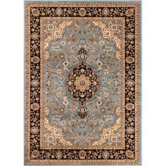 Well Woven Barclay Medallion Kashan Light Blue 7 ft. 10 in. x 9 ft. 10 in. Traditional Area Rug-541067 - The Home Depot