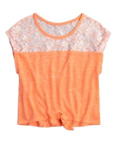 LACE TIE FRONT CROP TEE   GIRLS TOPS & TEES CLOTHES   SHOP JUSTICE
