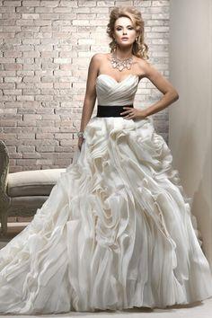 wedding gown, bridal, dress, strapless, sweetheart, trumpet, ruffles, sassy, sash, color pop