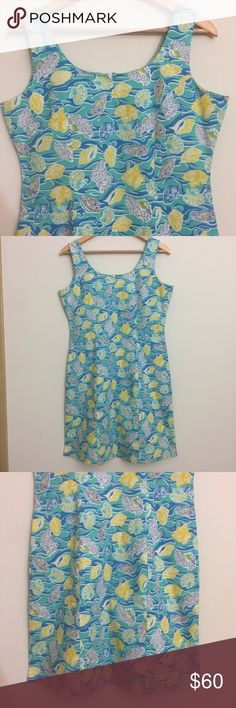 """Seashell Seaside Print Fitted Summer Beach Dress Previously loved, in very good condition seashell printed Knee Length dress from Moka Sport! This dress is perfect for any fun occasion! Zips in back. Bust 38"""", waist 32"""", length 36"""". Moka Sport Dresses Midi"""