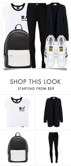 """""""School Style"""" by madeinmalaysia ❤ liked on Polyvore featuring Illustrated People, Acne Studios, PB 0110, AG Adriano Goldschmied and adidas Originals"""