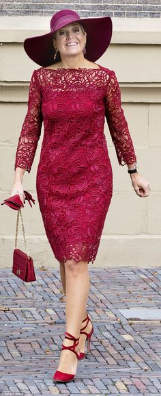 Queen Maxima, 46, looked sensational in deep red dress and accessories in The Hague ...