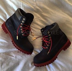 "Image of ""Noir et Rouge"" Sycamore Style Custom Dyed Timberland Boot"