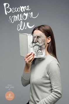 Ad for a used bookstore in Lithuania: Become someone else