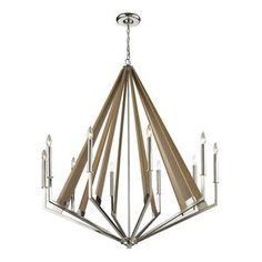 ELK Lighting E3147610 Madera Large Foyer Chandelier Chandelier - Polished Nickel / Taupe Wood