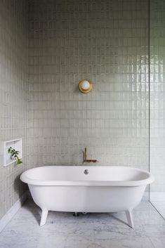 Vertical Stack Bond in the Shower | Centsational Style Bad Inspiration, Bathroom Inspiration, Bathroom Renovations, Home Remodeling, Remodel Bathroom, Bathroom Makeovers, Hecker Guthrie, Bathroom Colors, Bathroom Ideas