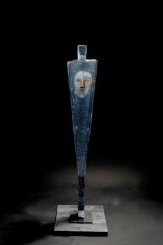 """Bertil Vallien (Swedish, 1938), Kosta Boda, """"Watcher"""" Sand Cast Glass Sculpture with Internal Ornamentation."""
