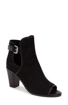 Donald J Pliner 'Kara' Open Toe Bootie leather black 4sh 3h sz7.5 268.00