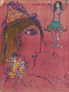 Profil de clown sur fond rose (1959) - Marc Chagall