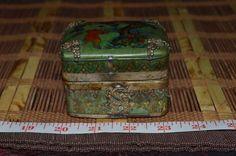 """Asian Porcelain & Silver Trinket Box Green w/ Blue Outdoor Scene 3 3/8""""x2 3/8"""""""