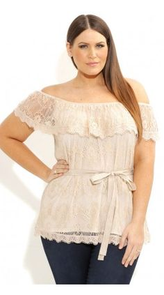Plus Size Lace Frill Top - City Chic - City Chic